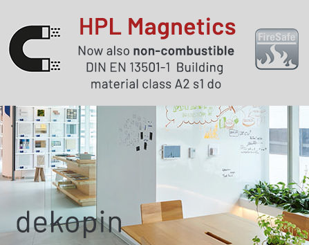 HPL magnetic sheets now also available as non-combustible