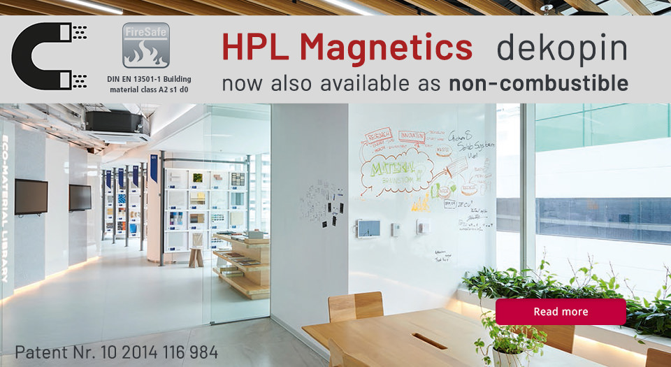 "HPL magnetic sheets now also available as ""non-combustible"""